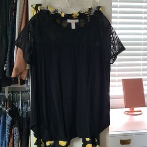 Emaline black top with lemon stretchy pants